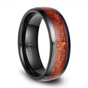 Black Wood Inlay Ceramic Ring