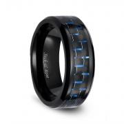 Black and Blue Carbon Fiber Ceramic Rings