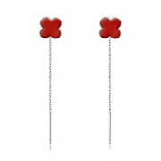 S925 Sterling Silver Four-leaf Clover Chain Earrings