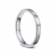White Brushed Flat Tungsten Rings