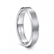 Silver Tungsten Brushed Bands Beveled Edge