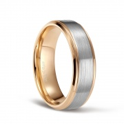 Rose Gold and Silver Brushed Tungsten Rings