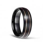 Black Domed Brushed Tungsten Ring
