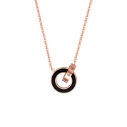 Roman Numeral Double Ring-Interlocking Necklace