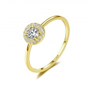 Fashion Inlaid Round Cubic Zirconia 925 Stering Silver Ring