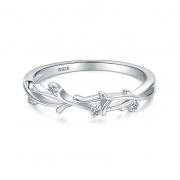S925 Stering Silver Leaves Shape Exquisite all-match Rings
