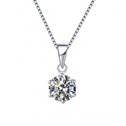 925 Sterling Silver Six Claw Moissanite Pendant Necklace