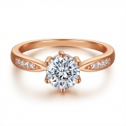Rose Gold Sterling Silver Rings With 1 Carat Swarovski Crystal