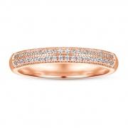Non-fading Rose Gold Half Inlaid Zircon 925 Silver Rings