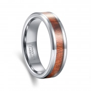 Koa Wood Silver Tungsten Carbide Ring