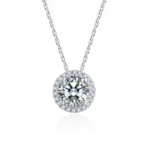 S925 Classic Round Cut 1.0ct Moissanite Diamond Pendant Necklace for Women