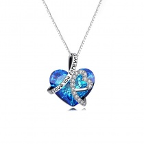 925 Sterling Silver Heart Necklace with Swarovski Crystal Element