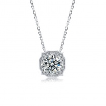 S925 Pendant Necklace Gift For Women with Round Cut 1.0 Carat Moissanite Diamond