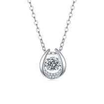 S925 Bright Pendant Necklace For Women with 1 Carat  Moissanite Diamond