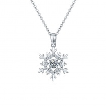 S925 Snow Flower Pendant Necklace with 1 Carat Moissanite Diamond