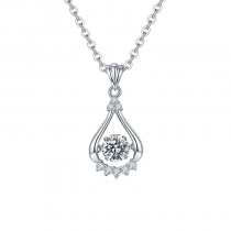 S925 Water-drop Pendant Necklace with 1 Carat Moissanite Diamond