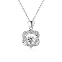 Sterling Silver Heart Suspension Design Necklace