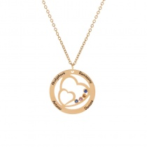 Round Heart Lettering Pendant Necklace