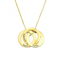 Custom Name Necklace Three Circle Ring Necklace Gold