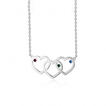 Personalized Three Heart Birthstone Necklace