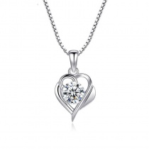 Sterling Silver Heart with Zircon Pendant Necklace