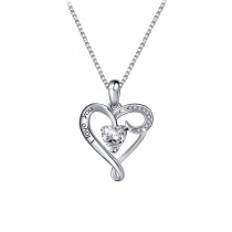 S925 Sterling Silver Heart I LOVE YOU Necklace