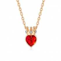 Crown Shape Red Heart Crystal 925 Silver Necklace
