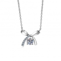 S925 Sterling Silver Four Claw 0.5ct Moissanite Bow Necklace