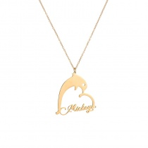 Private Custom Heart-shaped Dolphin Pendant Name Necklace