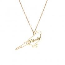 Creative Letters Inseparable Birds Heart Pendant Necklace