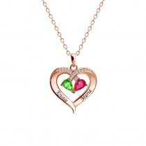Two-color Water Drop Birthstone Heart-shaped Name Necklace