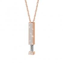Retractable Pendant Custom Name Diamond Double Necklace