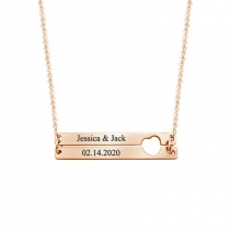 Hollow Heart-shaped Stitching Lettering Necklace