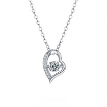 Heart Shaped Round Cut 1.0ct Moissanite Diamond Pendant Necklace For Women 925 Sterling Silver