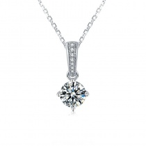 Four Claw Pendant Necklace 925 Sterling Silver with 1 Carat Moissanite Diamond