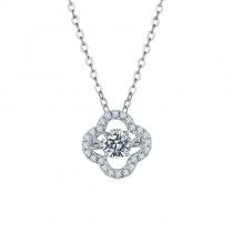 S925 New Style Flower Round Cut 1.0ct Moissanite Diamond Pendant Necklace