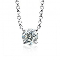 S925 Round Cut 1.0 Carat Moissanite Diamond Pendant Necklace for Women
