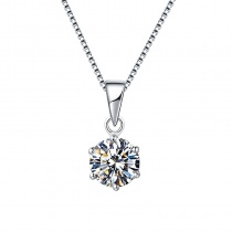 925 Sterling Silver Six Claw Pendant Necklace with 1 Carat Moissanite Diamond