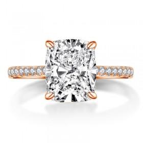 Cushion Cut Sona Diamond Rings Rose Gold