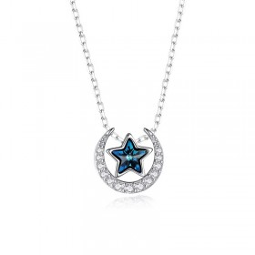 Mysterious Starry Sky Star Moon Necklace Blue Star Pendant