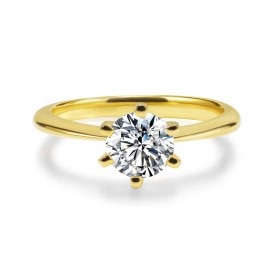 1 Carat Sona Diamond Engagement Rings Gold Plated in 925 Sterling Silver