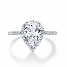Pear Cut Sona Diamond Sterling Silver Rings