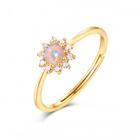 Natural Opal Sunflower Rings Sterling Silver