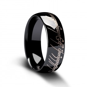 Black Polished Lord of the Rings in Tungsten