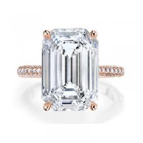 Emerald Cut Sona Diamond Rings in Sterling Silver