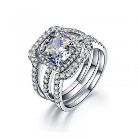 Sona Diamond Wedding Rings Sets in Sterling Silver