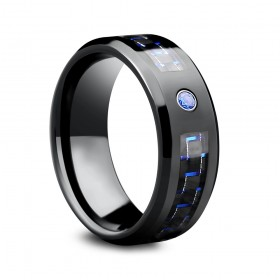 Black Carbon Fiber Tungsten Bands with Blue CZ