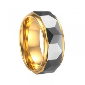 Gold and Silver Faceted Tungsten Bands