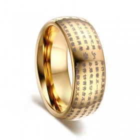 Gold Tungsten Rings Buddhist Religious Style