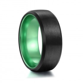 Black and Green Brushed Band in Tungsten